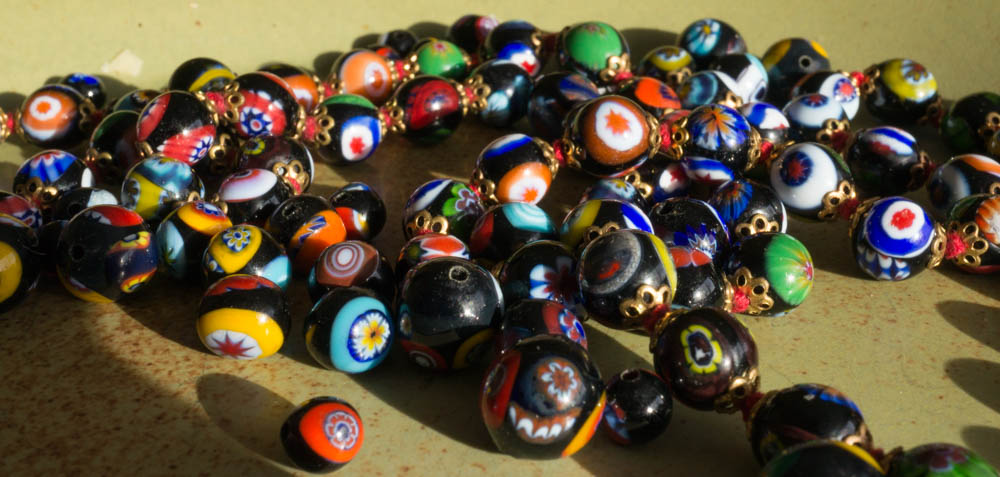 millefiore glass bead from Murano, Venice, Italy