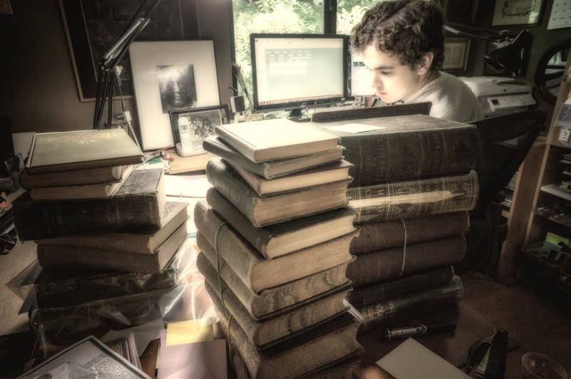 Brendan with books